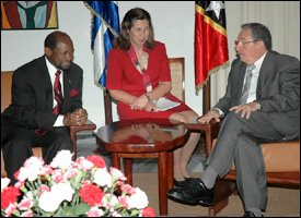 PM Douglas with President Castro