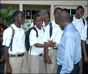PM Douglas With Sandy Point Students