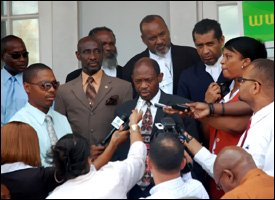 PM Douglas At Press Conference Outside Court House