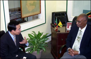 Nevis Premier Parry With Taiwan Ambassador Wu