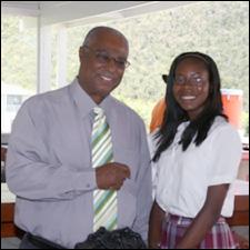 Premier Parry with student Faith Daniel