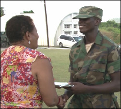 Private Hendrickson Receives Award From Ambassador Hazelle