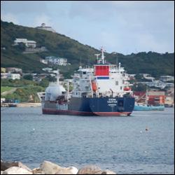 Propane Tanker Offloading In St. Kitts