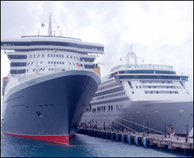 Queen Mary II Berthed at Port Zante - St. Kitts