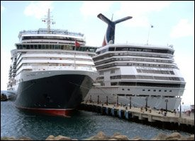 Cunard Line's Queen Victoria and Carnival Line's Victory