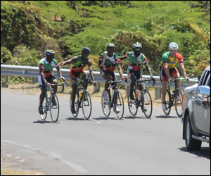 Cyclists Relay Queen's Baton On Nevis