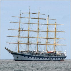 The Royal Clipper Moored Off Nevis