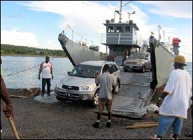 Seabridge Ferry Unloading Cars At Majors Bay - St. Kitts