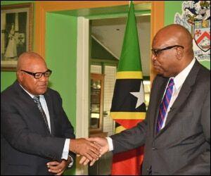 Seaton and Morton Shake Hands