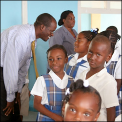 Patrice Nisbett With Students at The St. John's Primary School