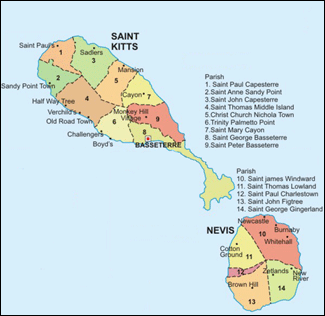 St. Kitts and Nevis Parish Map