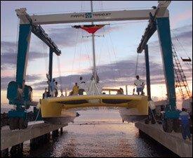 The St. Kitts Marine Works Lifts A Catamaran