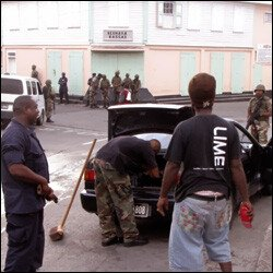 Armed With M16 - St. Kitts - Nevis Police Search Car