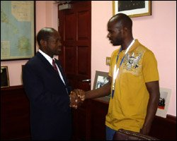 PM Douglas with Sprinter Kim Collins