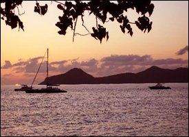 Sunset Over St. Kitts From Oualie Beach Resort Hotel