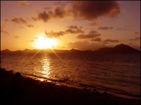 Sunset Over St. Kitts As Seen From Nevis