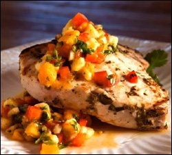 Swordfish With Mango and Red Pepper Salsa