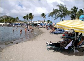 Cruise Tourists Crowd Frigate Bay Beach