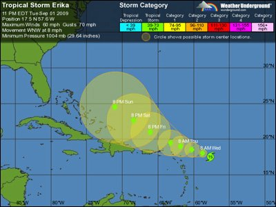Five Day Forecast For Tropical Storm Erika