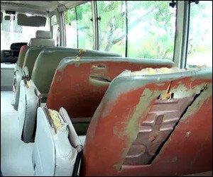 Vandalized Nevis School Bus
