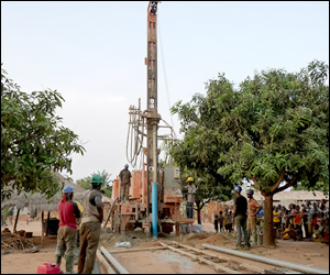 Water Drilling Rig In Action