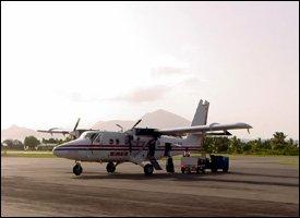 Winair Flight at Nevis International Airport