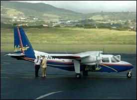 WINAIR Flight At St. Kitts Airport